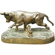 Bronze Bull Jumping Over Fence