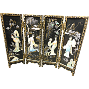 Minature Japanese Mother of Pearl 4-Panel Screen
