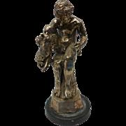 Art Nouveau Signed Nude Bronze Sculpture - Boy Holding Lion Cub on Tree Stump