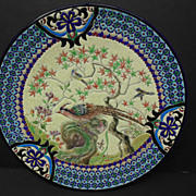 Longwy Plate with Peacock Motif