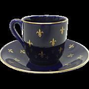 Swedish Rorstrand Cobalt Blue with Gilded Fleur De Lis Demitasse Cup & Saucer
