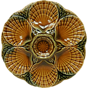 Sarreguemines French Majolica Brown Oyster Plate