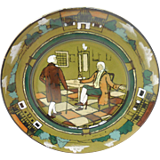 """Signed c. 1908 Buffalo Pottery Deldare Plate – """"At Ye Lion In"""" by Lita Palmer"""
