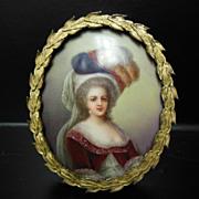 Antique KPM Style Marie Antoinette Mini Portrait Painting on Porcelain