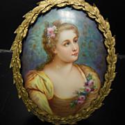 Antique KPM Style Mini Portrait Painting on Porcelain Signed Larabere