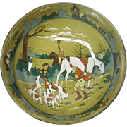 """Signed c. 1908 Buffalo Pottery Deldare Bowl – """"The Fallowfield Hunt. The Death"""" by W ..."""