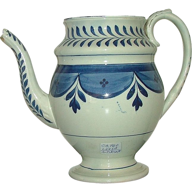 LEEDS Soft Paste Teapot Circa 1810 Decorated with Blue Flowered Swags & Sprig Tassels .