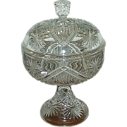 """SOLD Rare EAPG """"Shield & Stars"""" Sweetmeat Covered Dish with Footed Base !"""