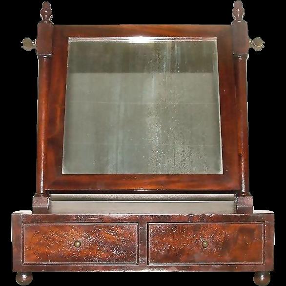 Mint American Made Mahogany Veneered & Dovetail Shaving Mirror !