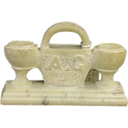 Rare Double Match Holder carved from Single Piece of White Marble !!!