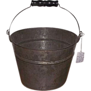 REDUCED Tinsmith Hand Made Small 5 1/2 inch Bucket with Black Painted Wood Roller Handle !