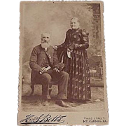 "Civil War Veteran Studio Photo of David Morgan in G.A.R. Uniform "" Shamokin,Pa. Lincoln Post # 140 ""   & his wife Martha Morgan. Ca.1890-91 ."