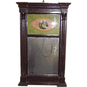 REDUCED American Country Sheraton Reverse Painted Glass Mirror ! Ca. 1850.