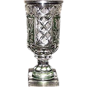 REDUCED Superior Blown Glass Goblet, Flashed & Stained Green, & Cut to Clear Floral ..