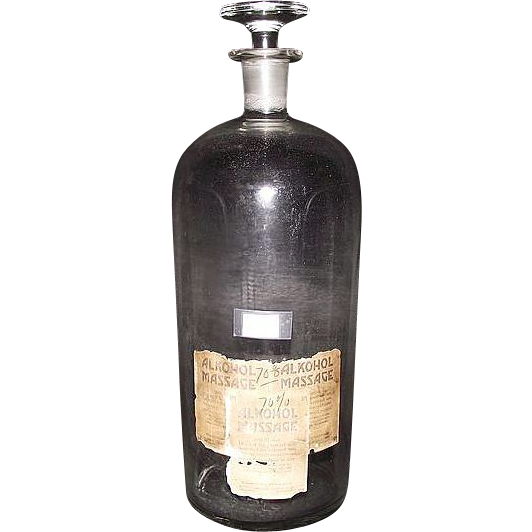 Super Size 13 Inch Tall Free Blown Glass Apothecary Bottle with Blown / Molded Glass Stopper !