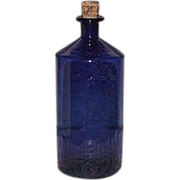 REDUCED Free Blown Apothecary Cobalt Blue Glass Bottle !!! Civil War Period Poison Bottle.