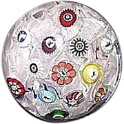 REDUCED Baccarat Spaced Millefiori Cane Paperweight with Gridel Figures Dated 1848 !!! From th