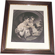 "REDUCED Original ""Mother & Daughter"" Engraved Print in Walnut Frame with inside Gold"