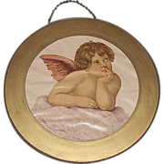 """REDUCED Glass Flue Cover with """"Young Winged Angel"""" Looking up to Heaven  Circa 1900."""