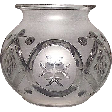 Large Ives Hanging Hall Oil Lamp Shade with Frosted & Cut to Clear Decorations !  Ca. 1865.