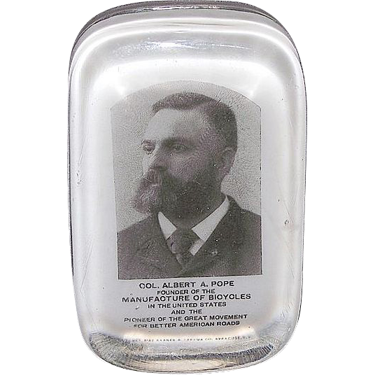 """Founder of Bicycle Manufacturing """"Col. Albert A. Pope"""" Paperweight Produced by Barnes & Abrams Pat. Sept.8,1882."""