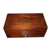 SOLD Profusely Brass Inlaid English Regency Mahogany Travel Desk  & Rosewood Fitted Interior !