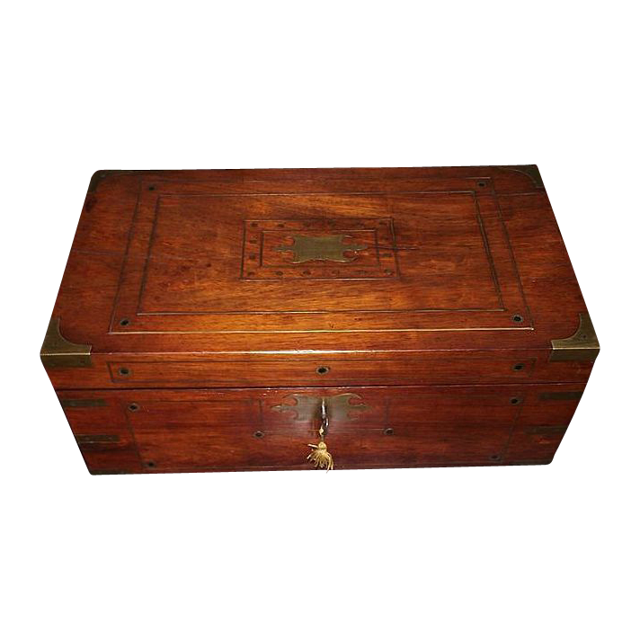 Profusely Brass Inlaid English Regency Mahogany Travel Desk  & Rosewood Fitted Interior !!!  Dated 1850.