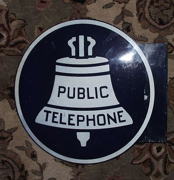 """Large """"Public Telephone"""" Sign aka """"Liberty Bell""""  Sign !"""