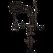 "Primitive Cast Iron ""Apple Peeler"" with original Wood Crank Knob !!!  Ca. 1878."