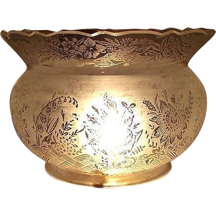 Cut King's Crown Top on a 5 inch Blown Glass Shade with Bird, Roses, & Bellflowers  Design !!!