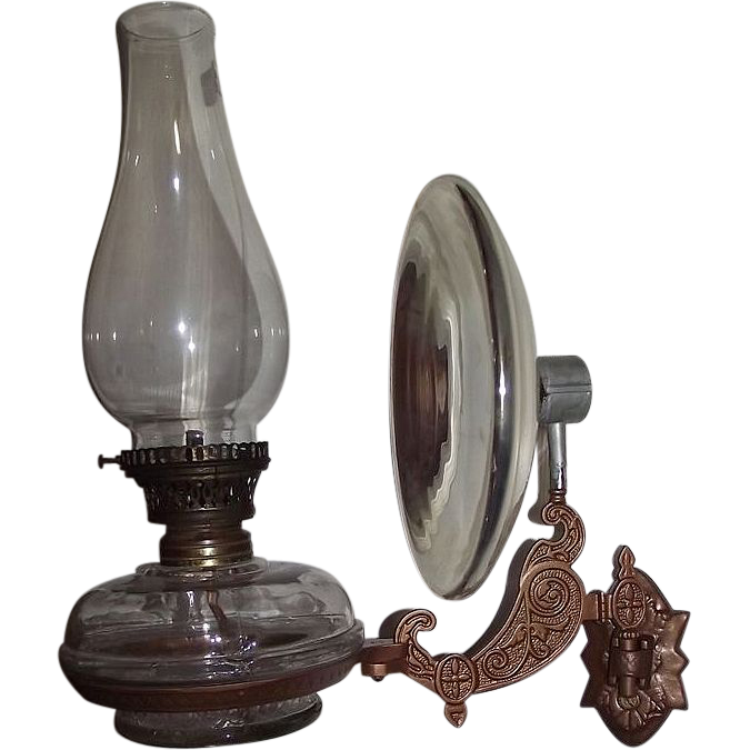 Economical Cast Iron Bracket Wall Arm Oil Lamp with Flange Lip Burner from rubylane-sold on Ruby ...
