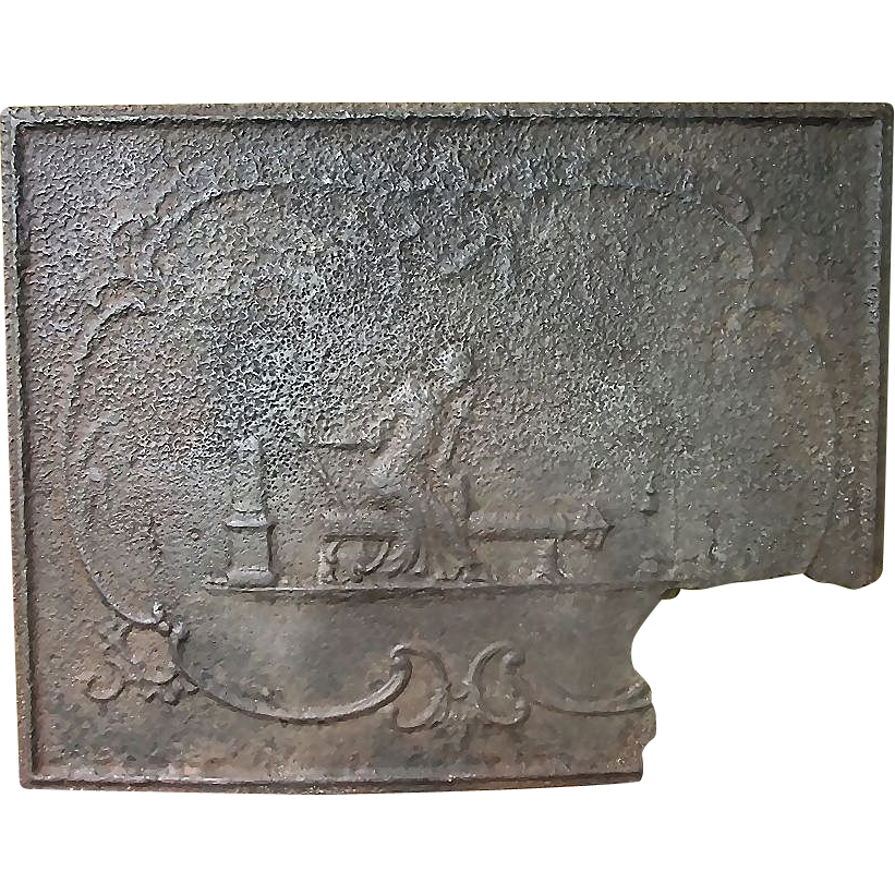 """Rare 18th Century Fire-Back marked """"Pine Grove"""" Furnace from Cumberland County,Pa. Ca. 1760's."""