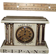 "REDUCED Miniature Drug Store Advertising Clock marked "" R*I*P*A*N*S Take ..."