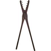 "REDUCED Rare ""EEL Tongs"" made of Wood with Cut-Nail Teeth !!! Ca. 1800's"