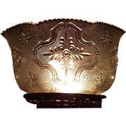 """REDUCED Bright Silver Sheen with Embossed """"Raised Cartouch"""" Pattern Glass Shade with"""