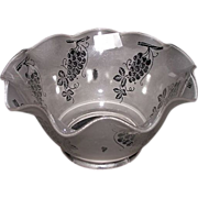 """REDUCED Satin Frosted Acid Etched """"Grapes"""" Pattern with a Hand Ruffled Top and 4 inc"""