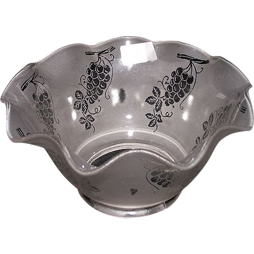"Satin Frosted Acid Etched ""Grapes"" Pattern with a Hand Ruffled Top and 4 inch fitter base !!!  Ca. 1900."