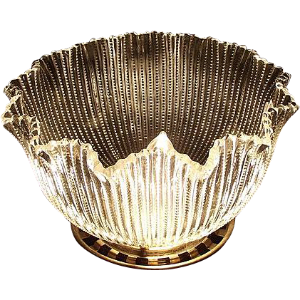 "Brilliant ""Notched Ribs"" Pattern Glass Shade with a 3 3/8  inch fitter base !!! Circa 1900."