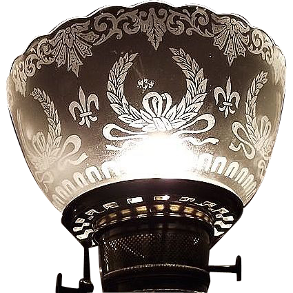 """Satin Frosted & Acid Etched """"Wreath & Fleur-de-Lis"""" Pattern with a standard 4 inch base fitter !!! Circa 1900."""