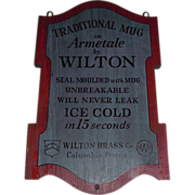 "REDUCED Vintage ""Wilton Brass Co."" Wood Sign Advertising Armetale Mugs ! Circa 1963"