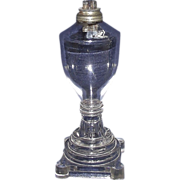 REDUCED Sandwich Whale Oil Lamp with Free Blown Fount and a Molded Base !!!  Ca. 1840.