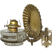 REDUCED Wall Bracket with Combination Finger Oil Lamp Complete ! Ca. 1875.