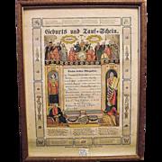 """REDUCED Pre-Civil War Pa. Dutch Birth & Baptismal Certificate """"Geburts und Tauf - Schein"""""""