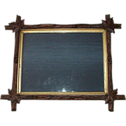 "Large Deeply Carved ""Arts And Crafts Period"" Black Walnut Stick Picture Frame !!! Ca. 1880."