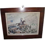 """REDUCED Rare Mexican American War Print Titled """"Colonel Harney's Brilliant Charge at the"""