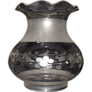 """REDUCED Civil War Period Engraved """"Flower & Vines"""" Oregon Shade with 3 & 3/8 inch st"""