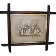 REDUCED Walnut Tramp Art Framed 8 by 10 inch Class photograph by John M Patterson !  Ca1895