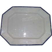 """Large """"Blue Feathered Edge"""" Platter with Embossed Grass Blades on a 16 1/2 by 13 Inch Serving Platter !"""