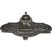 SOLD Elaborately Pierced Solid Brass Ink Stand with Original Brass Domed Glass Inkwell !!!