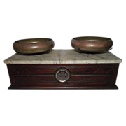 """REDUCED Apothecary / Drug Store """"Balance Scale"""" with  Walnut Case & White Marble"""